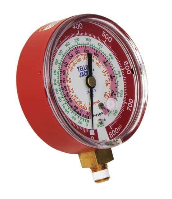 """Yellow Jacket 49137 3-1/8"""" Red Pressure 0-800 psi R-22/404A/410A Gauge"""